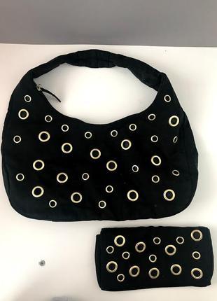 Черная мягкая сумка и кошелек oriflame