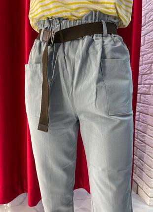 Бирюзовый женские штаны прямого кроя