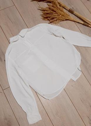 Bershka базова біла сорочка на довгий рукав xs-s