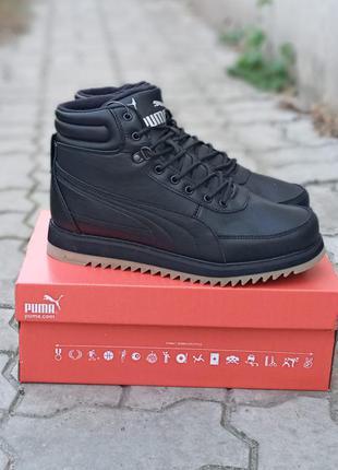 Мужские демисезонные кроссовки puma suede hightop черные, кожаные