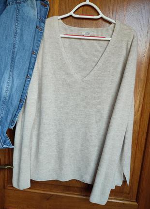 Базовый свитер тонкой машиной вязки, размер 16
