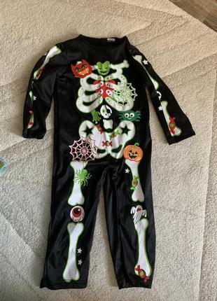 Костюм на хэллоуин скелета на липучках 2-4 года