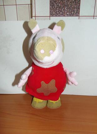 Прыгающая интерактивная мягкая игрушка свинка пеппа грязнуля peppa pig