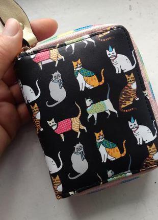 Новый гламурный компактный короткий кошелек на двух молниях котики коты кот