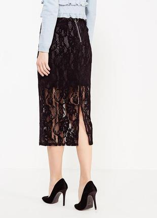 Кружевная юбка миди lost ink, asos. черная юбка футляр, карандаш
