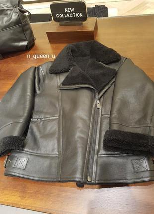 Черная кожаная куртка-авиатор дубленка massimo dutti! оригинал, португалия!