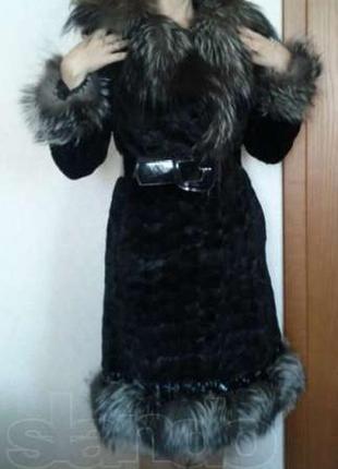 Натуральная норковая шуба с чернобуркой норка +чернобурка3
