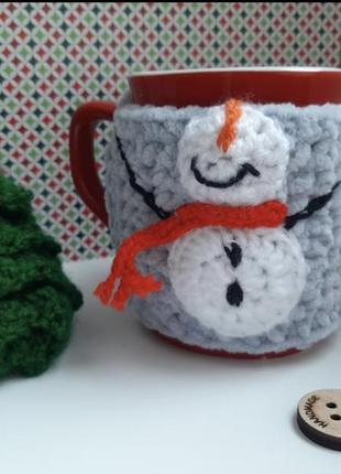 Чехол на чашку веселый снеговик