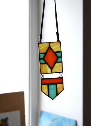 Кулон из витражного стекла в этно-стиле3