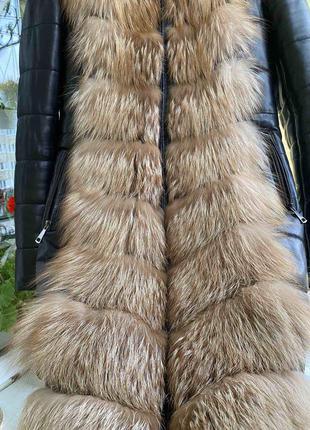 Пуховик, пальто, куртка кожа, мех чернобурки
