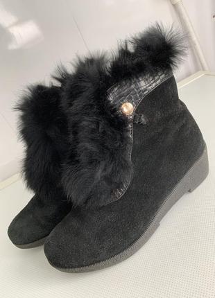 Замшевые ботиночки на натуральном меху