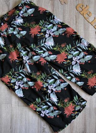 Хлопковые укороченные брюки \ капри принт пояс резинка eur 56-58