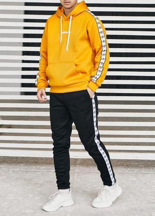 Черно-оранжевый костюм adidas на флисе❄️  зима