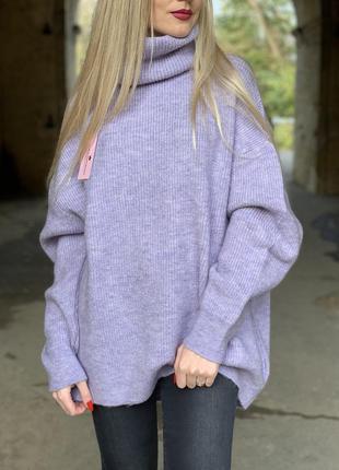 Стильный свитер лиловый лавандовый оверсайз dilvin