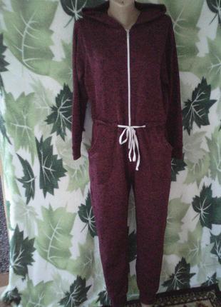 Кенгуруми комбинезон теплый с капюшоном вязаный пижама