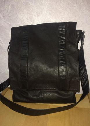Большая сумка почтальон натуральная кожа