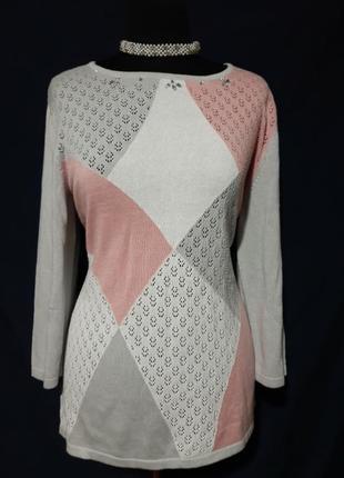 Стильный свитерок, джемпер с ромбиками, по кругу с камушками (котон+вискоза)