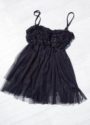 Нарядная пышная чёрная блуза из фатина g&y италия