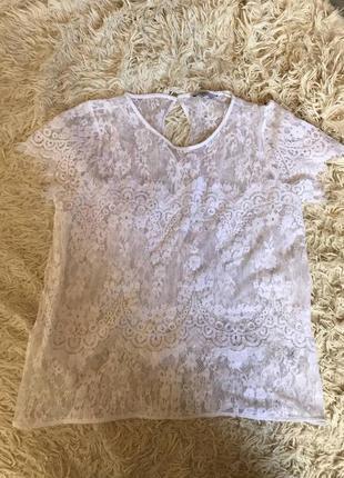 Срочная распродажа! белая нежная кружевная прозрачная блуза