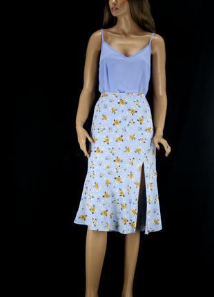 Нежная брендовая юбка миди monkl с цветочным принтом . размер s.