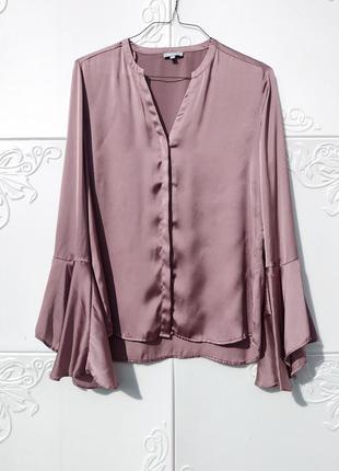 Блуза с расклешённым рукавом бледно сиренево розовая moddison