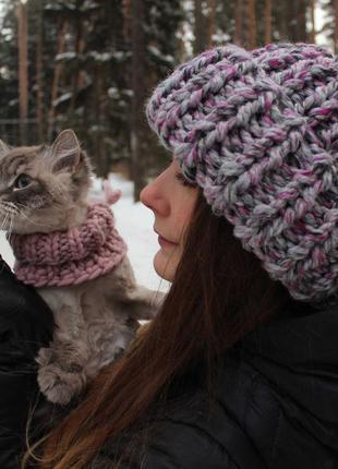 Зимняя шапка крупной вязки меланж