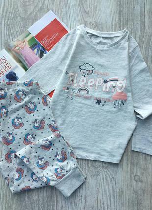 Хлопковая комбинированная пижама, пижамка