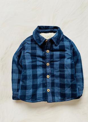 Tu стильная рубашка -куртка на меху  на мальчика   9-12  мес