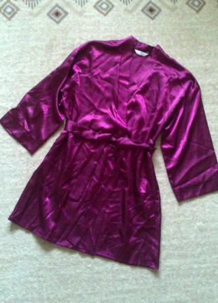 42р. вишнёвый атласный халат на запах essentials