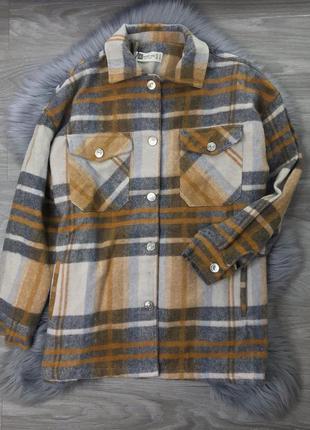 Ограничено! горчичная куртка рубашка в клетку клеточку с карманами фланель коттон
