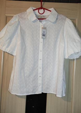 Белая блузка прошва , блузка рукав фонарик , біла блузка