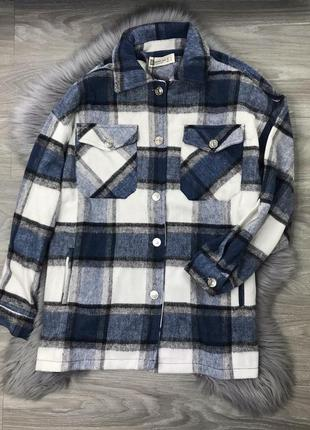 Ограничено! синяя куртка рубашка в клетку клеточку с карманами фланель коттон