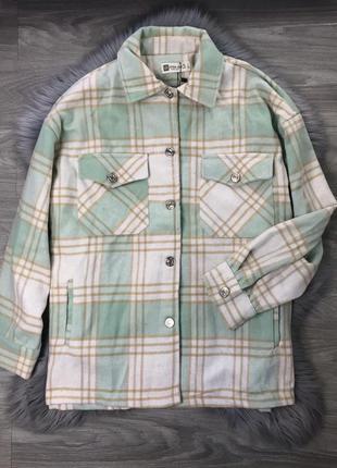 Ограничено! мятная куртка рубашка в клетку клеточку с карманами фланель коттон