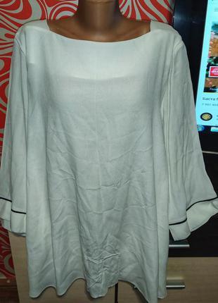 Нарядная батальная белая рубашка,класическа,трапеция