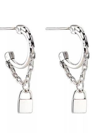 Серьги минимализм цепочки замки гвоздик из серебра 925 пробы / большая распродажа!