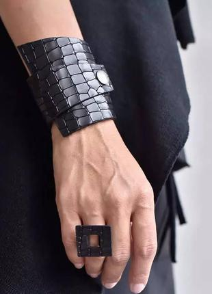 Набор кожзам браслет асимметрия и кольцо квадрат / большая распродажа!