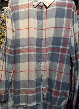 Женская рубашка в клетку удлиненная