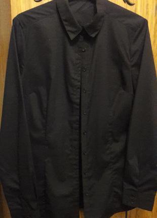 Черная рубашка унисекс базовая