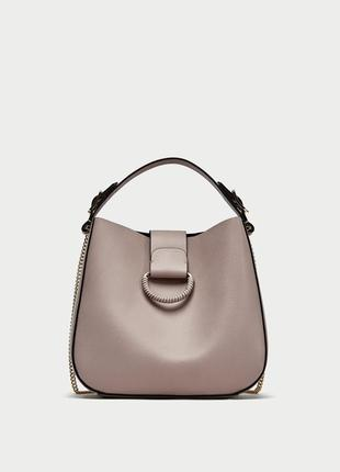 Новая сумка-мешок среднего размера кольца zara