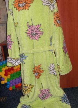 Нежный тёплый махровый халат травка размер xxl