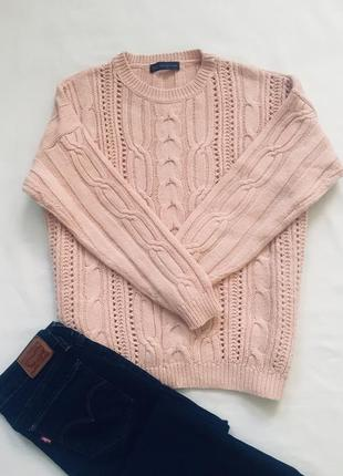 Нюдовый пудровый свитер оверсайз объёмная красивая вязка в составе альпака!