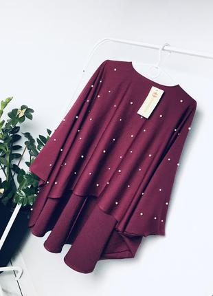 Новая оверсайз блуза-накидка в двусторонних бусах жемчуг от zernisan from istanbul  1+1=3 🎁