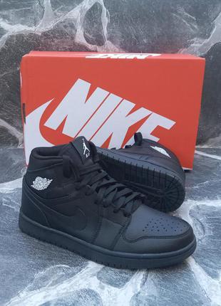 Подростковые кроссовки nike air jordan кожаные, черные