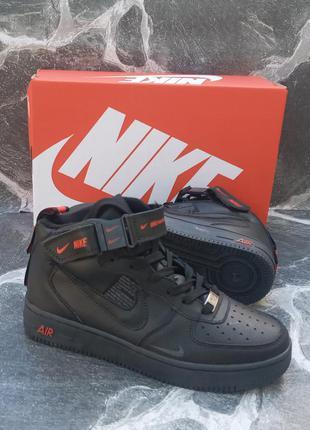 Подростковые термо кроссовки nike air force кожаные, черные