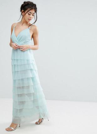 True decadence petite макси платье многослойное шифоновое бирюза