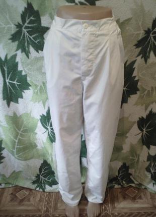 Брюки штаны брючки белые беленькие на пуговицах с карманами высокая посадка винтажные