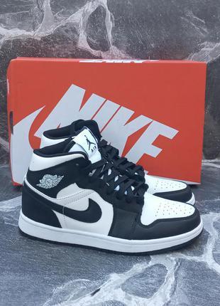 Подростковые кроссовки nike air jordan кожаные, белые,черные
