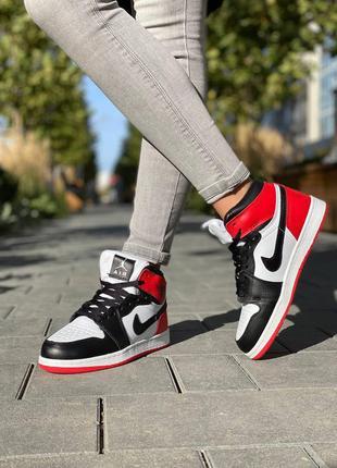 Женские высокие кожаные кроссовки с мехом nike air jordan retro #найк