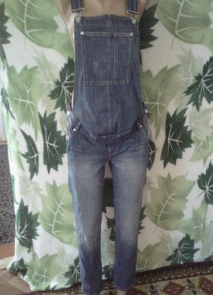 Джинсовый комбинезон ромпер джинсы для беременных мам мама denim h&m
