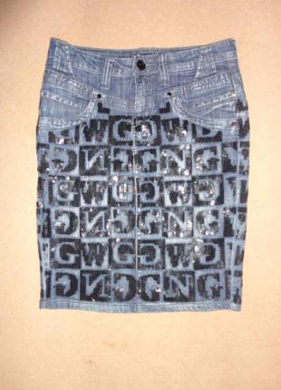 Стильная ультрамодная джинсовая юбка awoss